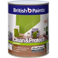 British Paints Clean & Protect 1L Semi Gloss White Interior Paint