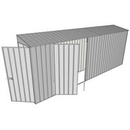 Build-a-Shed 0.8 x 5.2 x 2m Hinged Door Tunnel Shed with Double Hinged Side Doors - Zinc