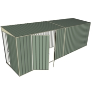 Build-a-Shed 1.5 x 6 x 2m Tunnel Shed Tunnel Sliding Door Plus Double Hinged Doors - Green