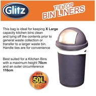 Glitz 50L Large Citrus Scented Tie Top Kitchen Bin Liners - 100 Pack