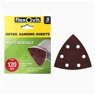 Flexovit 93 x 93mm 120 Grit 6 Hole All Surface Detail Sanding Sheet - 5 Pack