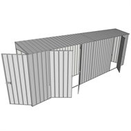 Build-a-Shed 0.8 x 6 x 2m Single Hinged Door Skillion Shed with Double and Single Hinged Side Doors - Zinc