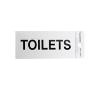 Sandleford 100 x 50mm Toilets Silver Self Adhesive Sign