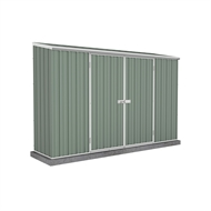Garden Pro 3.00 x 0.78 x 1.95m Skillion Roof Double Door Shed - Green