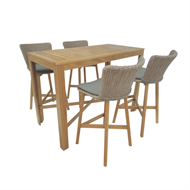 Mimosa 5 Piece Corsica Wicker and Timber Bar Setting