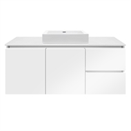 Forme 1200mm Colourstone / White Gloss Parclane Square Basin Wall Hung Vanity