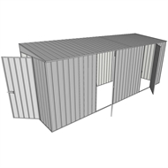 Build-a-Shed 0.8 x 5.2 x 2m Hinged Door Tunnel Shed with Dual Hinged Side Doors - Zinc
