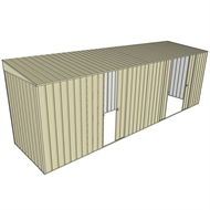 Build-a-Shed 1.5 x 6 x 2m Single and Double Sliding Side Door Skillion Shed - Cream