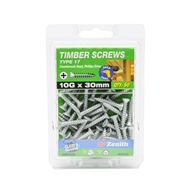 Zenith 10g x 30mm Galvanised Countersunk Ribbed Head Type 17 Timber Screws - 50 Pack