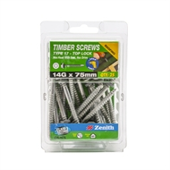 Zenith 14g x 75mm Galvanised Hex Head With Seal Timber Screws - 25 Pack