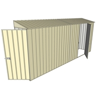 Build-a-Shed 0.8 x 4.5 x 2m Hinged Door Tunnel Shed with Single Hinged Side Door - Cream