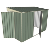 Build-a-Shed 1.5 x 3.0 x 2.0m Hinged Door Tunnel Shed with Hinged Side Door - Green