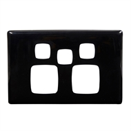 HPM LINEA Double Powerpoint With Extra Hole Coverplate - Black