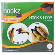 Hookz 25mm x 20m White Hook And Loop Tape