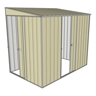 Build-a-Shed 1.5 x 2.3 x 2m Sliding Door Tunnel Shed with Sliding Side Door - Cream