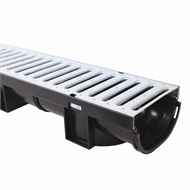 Everhard EasyDRAIN 80mm x 1m Compact Channel With Galvanised Metal Grate