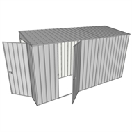 Build-A-Shed 1.2 x 3.7 x 2.0m Zinc Tunnel Shed Tunnel Hinged Door with 1 Hinged Side Door - Zinc