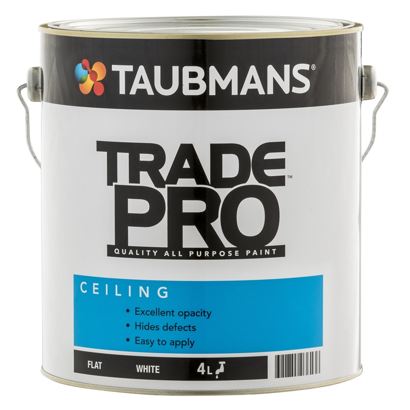 ceiling white paintTaubmans Trade Pro 4L White Flat Interior Ceiling Paint  Bunnings