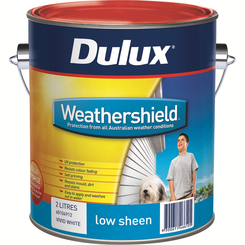 Dulux weathershield 2l low sheen vivid white exterior paint - Dulux weathershield exterior paint minimalist ...