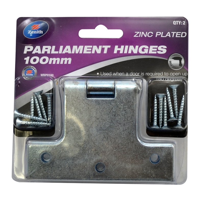 Zenith 100mm Zinc Plated Parliament Hinge - 2 Pack