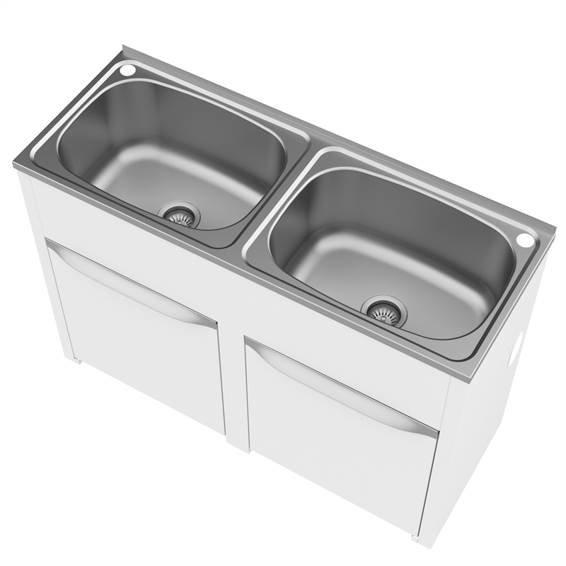 Double Bowl Laundry Trough : Clark 45L Eureka Double Bowl Bypass Trough And Cabinet With Floor