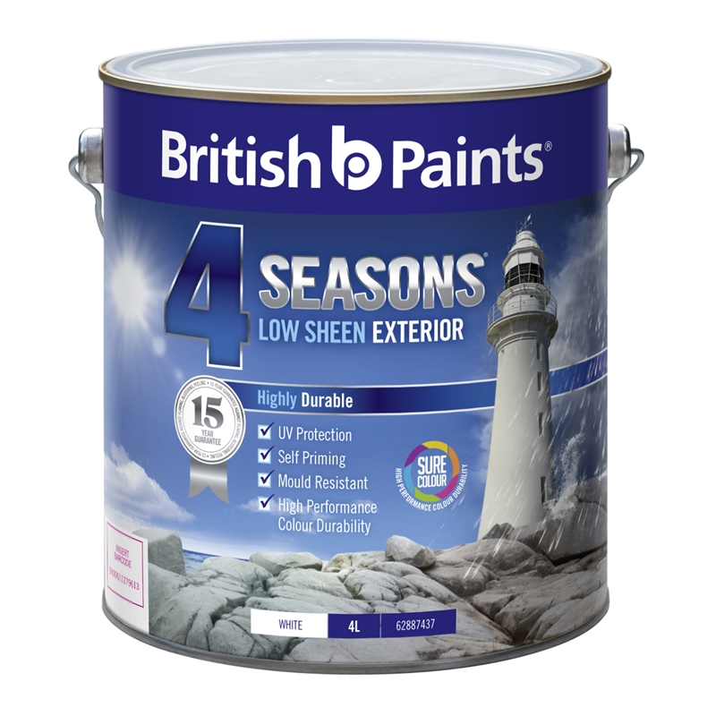 british paints 4 seasons 4l low sheen mid base exterior paint i n. Black Bedroom Furniture Sets. Home Design Ideas