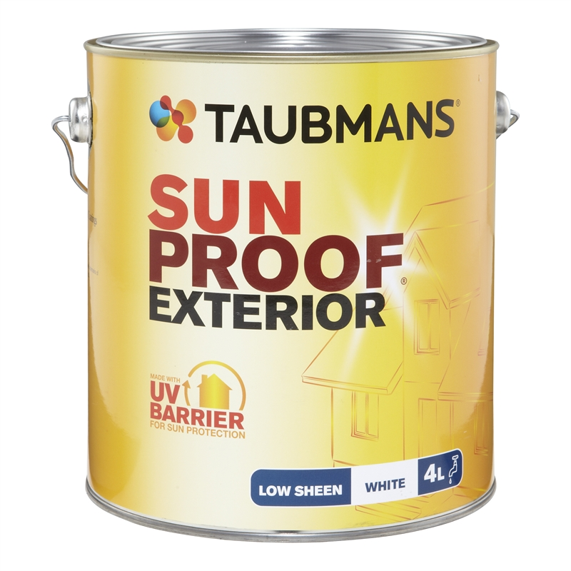 Taubmans Sunproof 4l Low Sheen White Exterior Paint I N 1540317 Bunnings Warehouse
