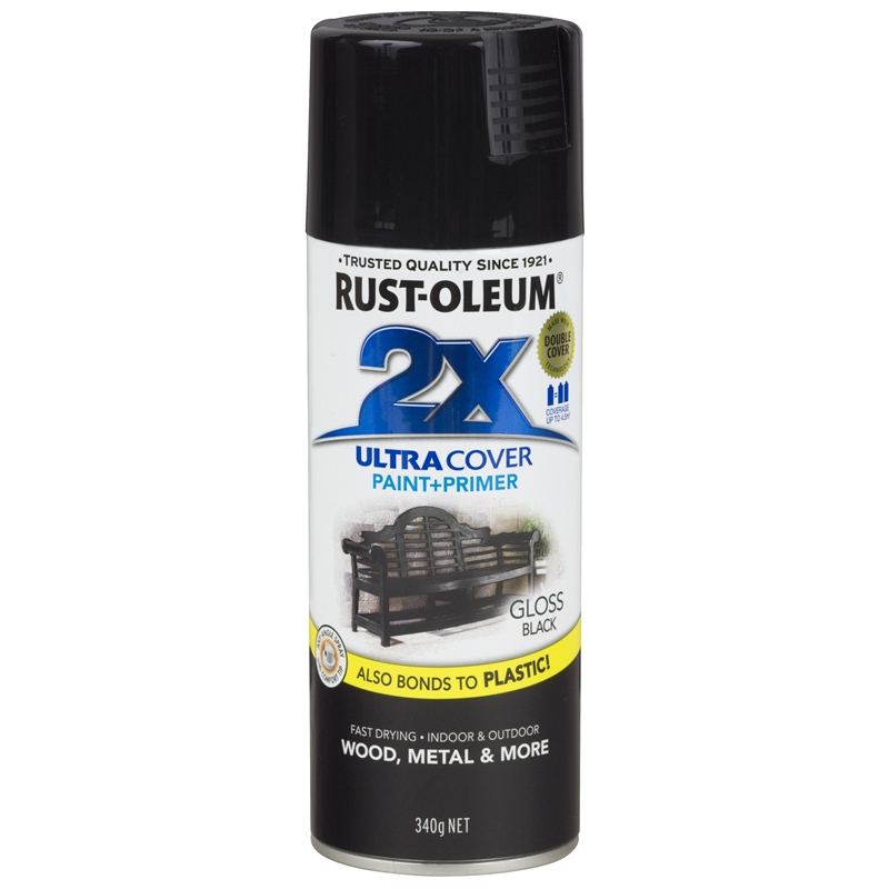 Rust oleum 340g ultra cover 2x gloss spray paint black bunnings warehouse Black spray paint