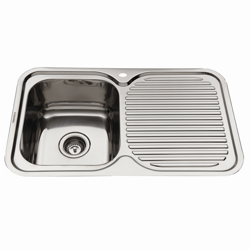 Delightful Everhard 780mm NuGleam LH Single Bowl Stainless Steel Kitchen Sink With  Drainer Nice Look