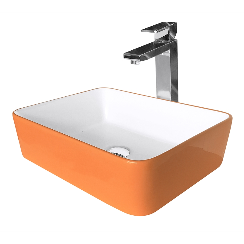 High Quality Cibo Design Orange Rectangular Vivid Counter Top Basin | Bunnings Warehouse
