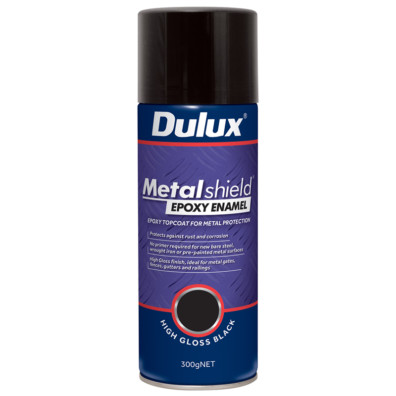 High gloss black spray paint for metal dulux metalshield 300g high gloss black epoxy enamel Black metal spray paint
