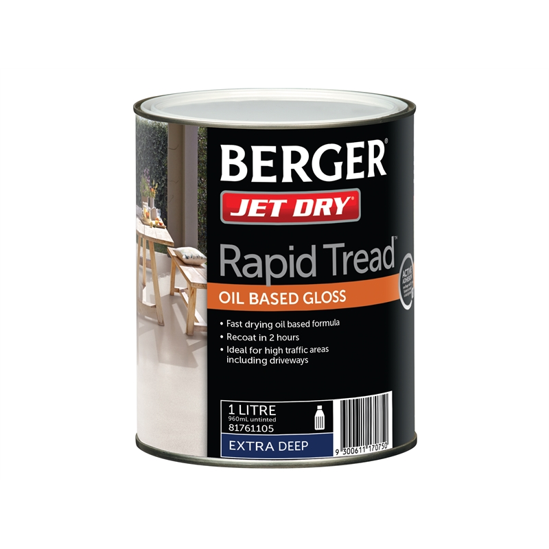 Berger Jet Dry 1l Extra Deep Rapid Tread Oil Based Gloss Paint