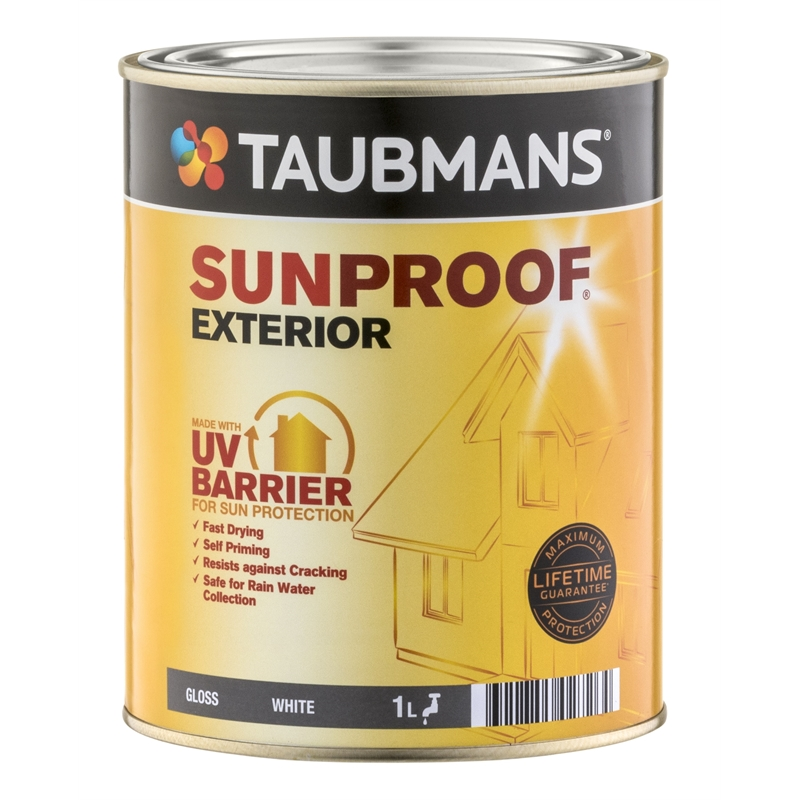 Taubmans 1l gloss white sunproof exterior paint bunnings warehouse - Exterior white gloss paint image ...