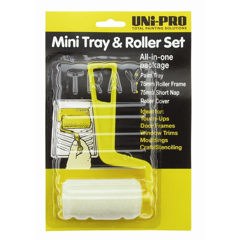 uni pro 75mm sample pot paint roller kit i n 1678256. Black Bedroom Furniture Sets. Home Design Ideas