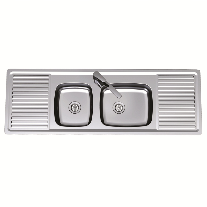 Clark 1386mm Benchmark 1.5 Centre Bowl Inset Sink With 3 Tap Holes