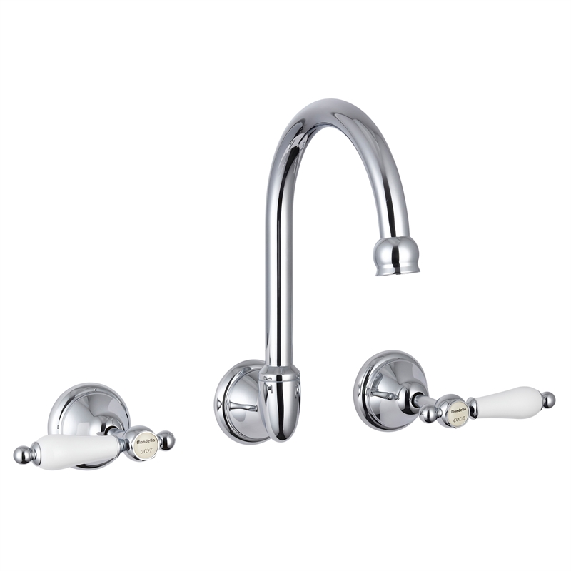 Maestro Chrome Lever Handle Wall Sink Set