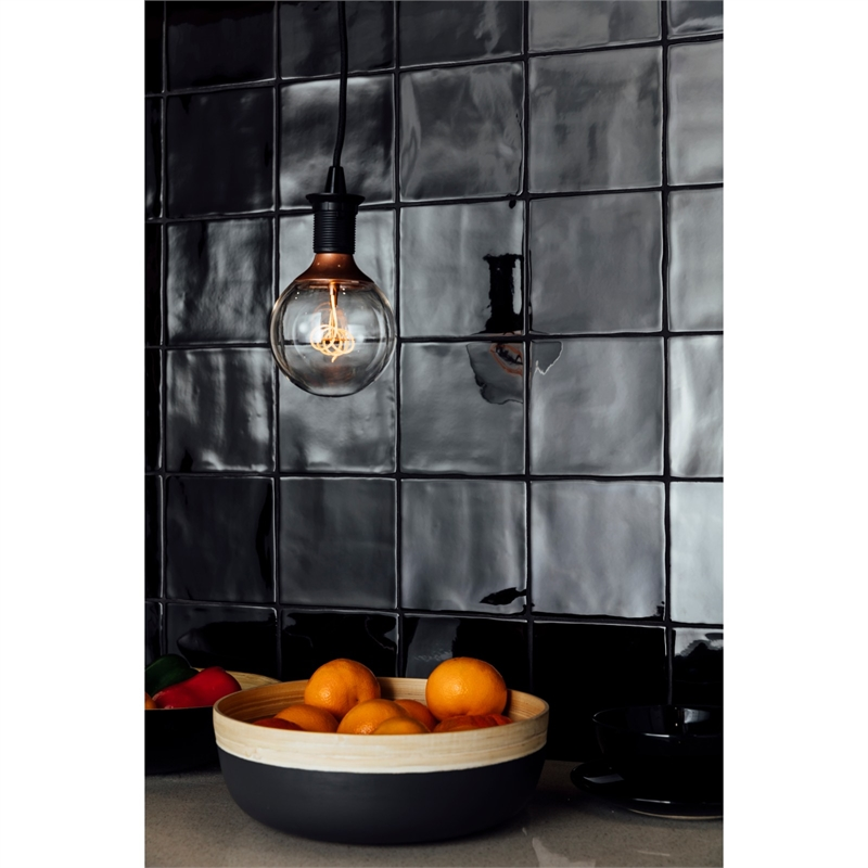 Decor8 150 X 150mm Black Gloss Devonshire Ceramic Wall Tiles 22 Pack