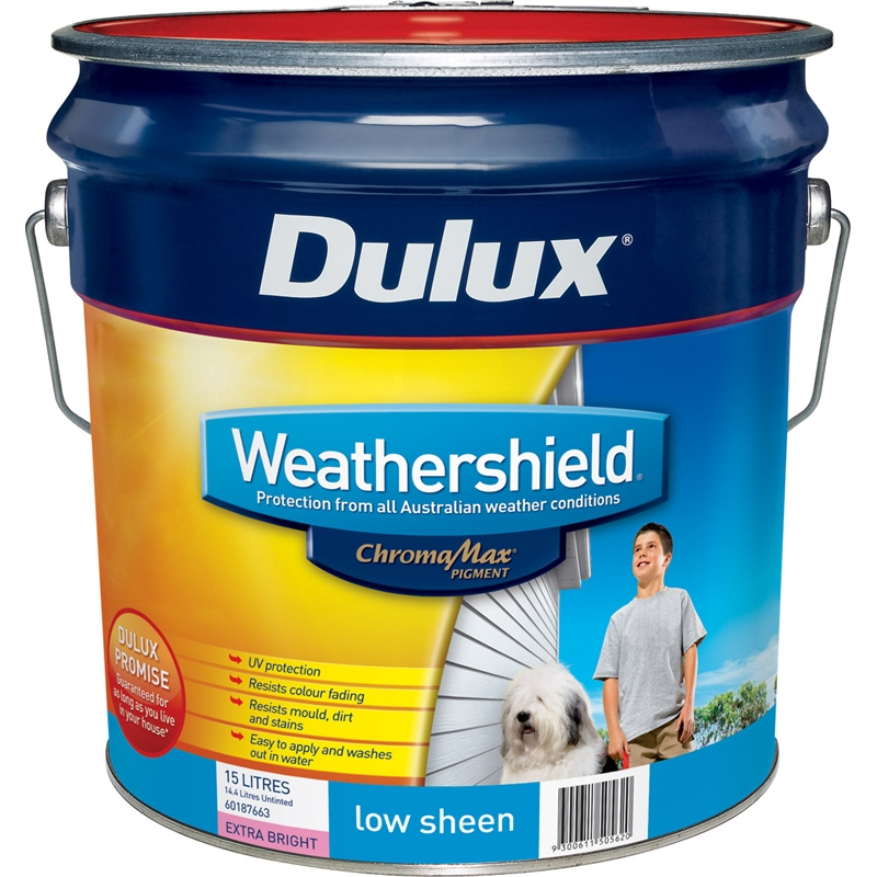 Dulux weathershield 15l low sheen extra bright exterior paint - Dulux weathershield exterior paint minimalist ...