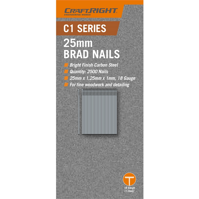 Craftright 25mm Carbon Steel C1 Series Brad Nails - 2500 Pack