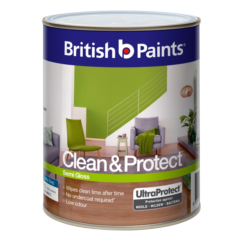 British Paints Clean Protect 1l Semi Gloss Extra Deep Interior Paint