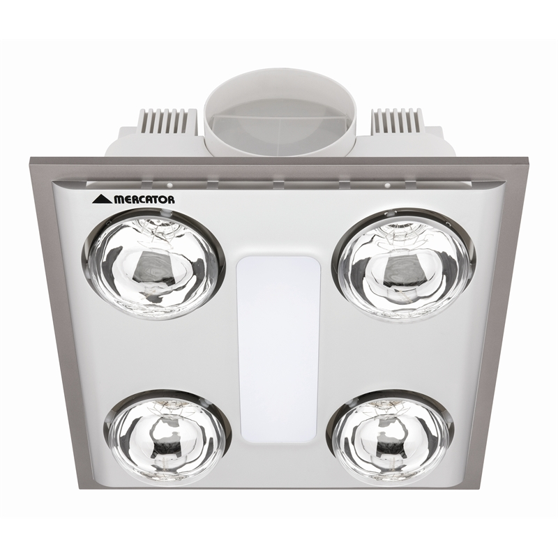 mercator silver cosmo quattro bathroom heater exhaust with light