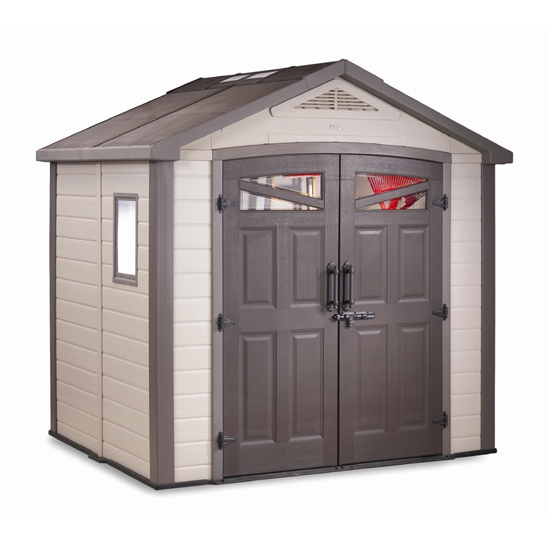 Keter bellevue beige 2555x2050x2550mm polypropylene shed for Garden shed keter