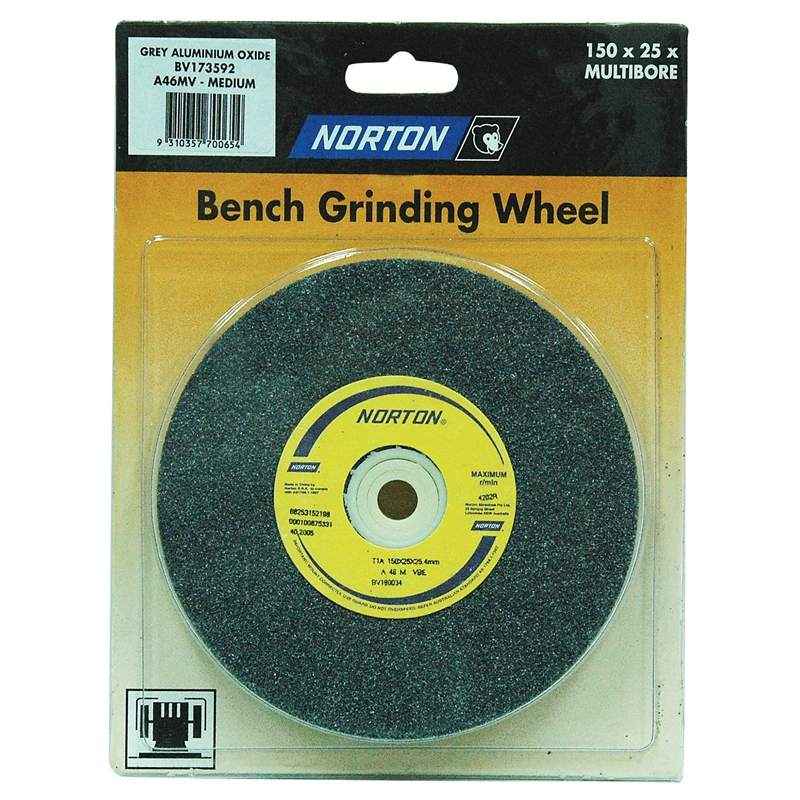 Norton 150 X 25mm Multi Bore Medium Bench Grinding Wheel