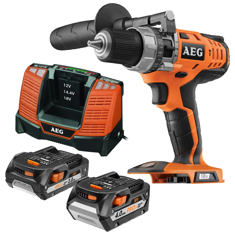 aeg 18v hammer drill kit with 2 batteries bunnings warehouse. Black Bedroom Furniture Sets. Home Design Ideas
