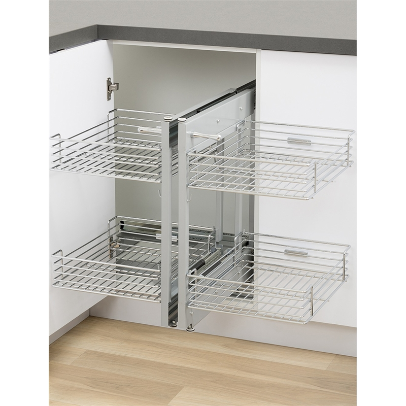 High Quality Kaboodle 2 Tier Chrome Blind Corner Soft Close Pull Out Baskets