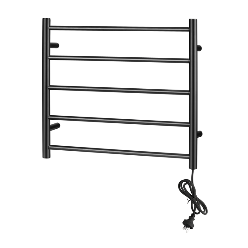 66W Matte Black 5 Bar Heated Towel Rail