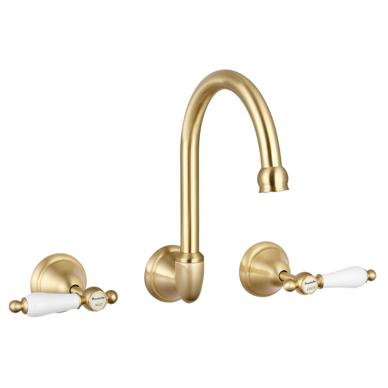 Maestro Brass Lever Handle Wall Sink Set