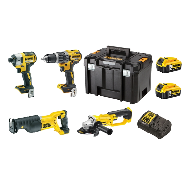 DeWALT 4 Piece 18V Li-ion XR Combo Kit - With 2 x 5 0Ah Batteries
