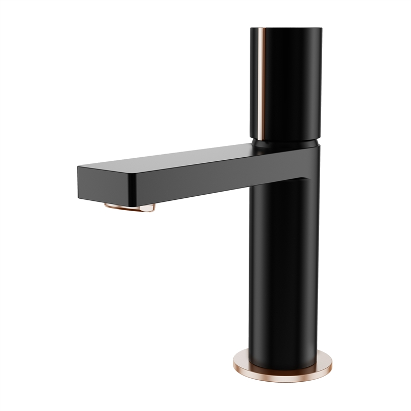 Signature WELS 4 Star 7.5L/min Matte Black And Rose Gold Basin Mixer