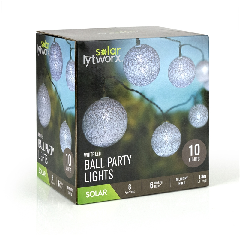 Lytworx White Solar Ball Party Lights - 10 Pack